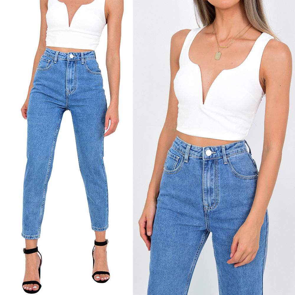 2020 light blue vintage washed INS hot sale high waist womens mom jeans