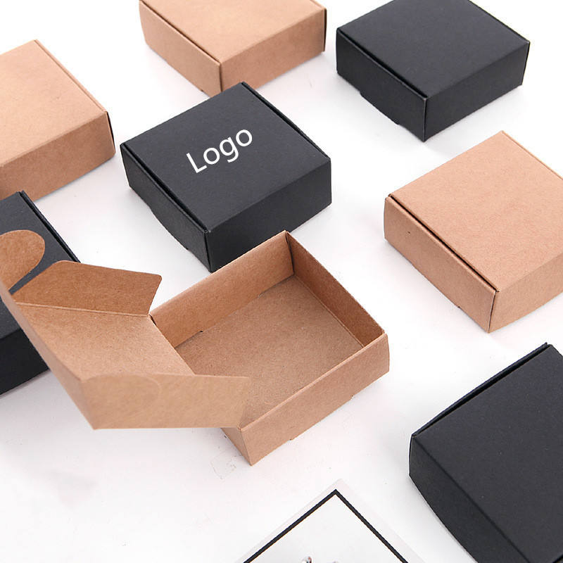 Wholesale Square Black And Brown Kraft Handmade Aircraft Soap Packaging Box With Logo