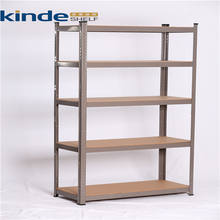 5 shelf Adjustable Boltless MDF Board Curled Edge Metal shelving display rack adjustable shelves for Office home storeroom
