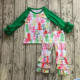 Wholesale Children Fall Winter Ruffled Outfits Baby Girls Boutique Remake Christmas Cotton Clothes set