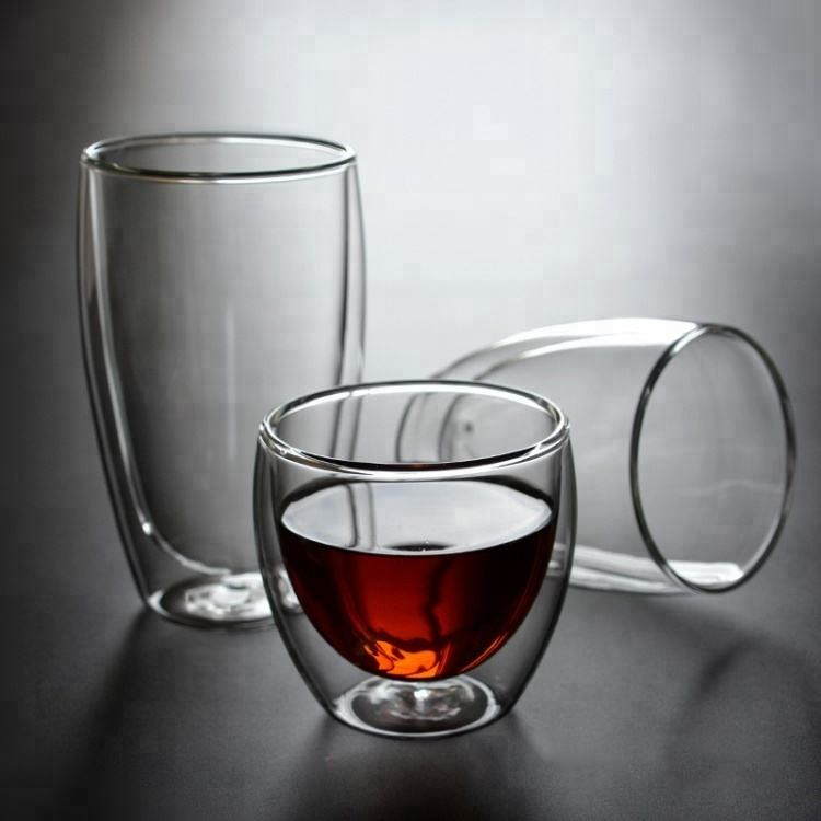 Double Wall Glass 250ml Coffee Cup With LOGO Glass Double Wall Tea Cup Unbreakable Tea Cup Set