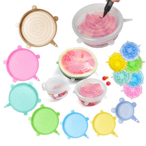 Food grade 6-pack silicone stretch deksel hot Selling as seen on tv silicone stretch flexibele siliconen keuken deksels