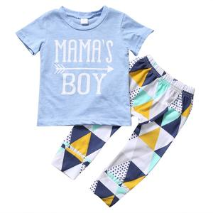BS026004 Newborn Baby Boy Clothes Short Sleeve Cotton T-shirt Tops +Geometric Pant 2PCS Outfit Toddler Kids Clothing Set