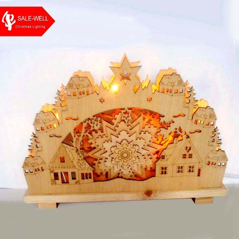 handmade custom decoration wooden table,3d Laser Cut Christmas Light Wooden crafts