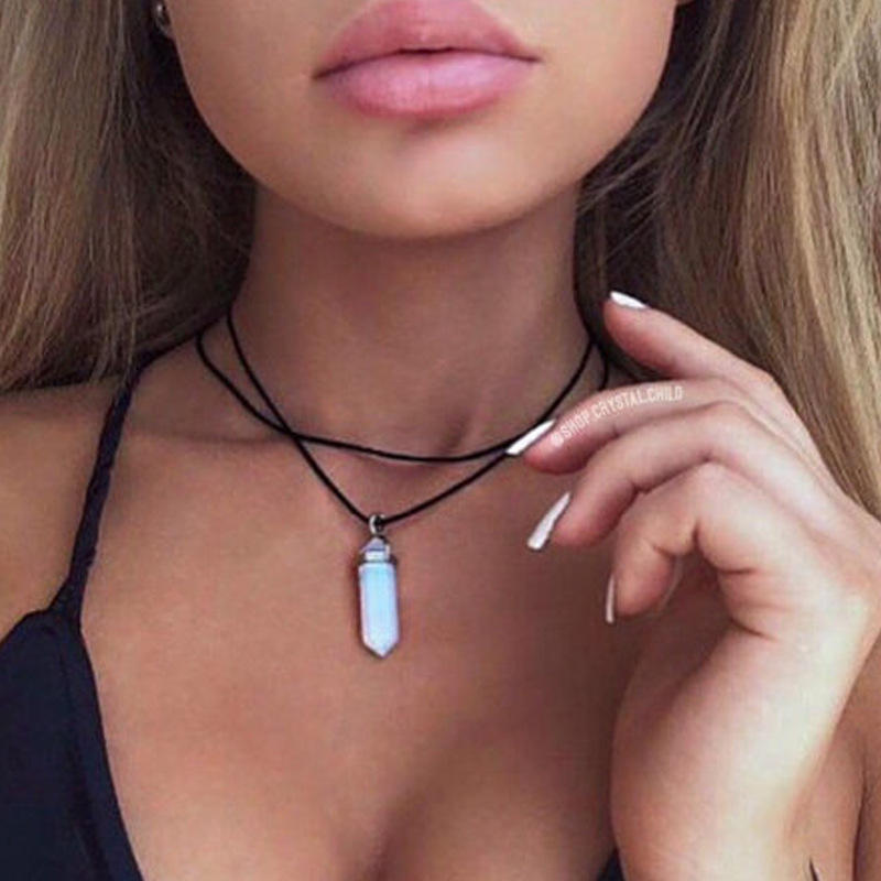 2017 New Fashion Gemstone Pendant Choker Natural Stone Pendant Necklace Choker For Women