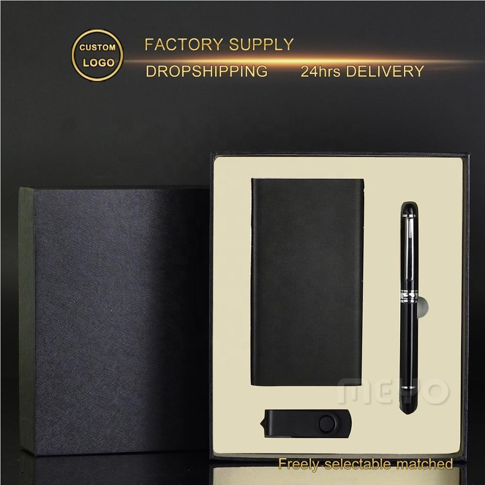 Business style gift in packing boxes personalized giveaway gift sets with pen power bank usb flash