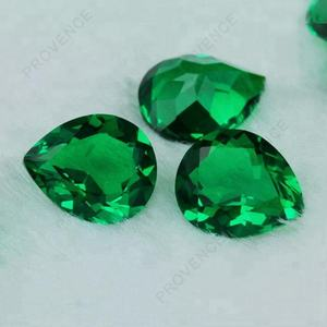 New thermostability material 5*7mm pear cut synthetic green nano gemstones