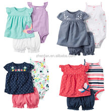 high quality 100%cotton summer baby girl skirts and romper with shorts