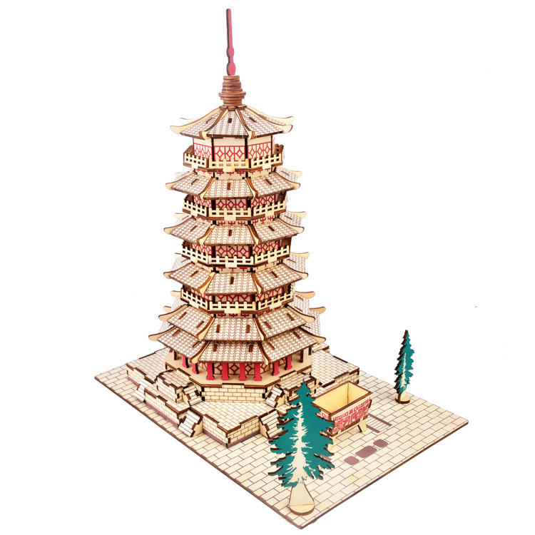 New-Land Customized 3D DIY Wooden Puzzle Famous Building Model Kits