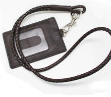 Custom ID Card Leather Badge Holder with Heavy Duty PU Lanyard