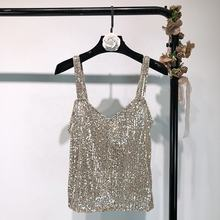 Spring 2019 fashion new european-style halter sequined metallic vest ins fashionable outerwear female trend