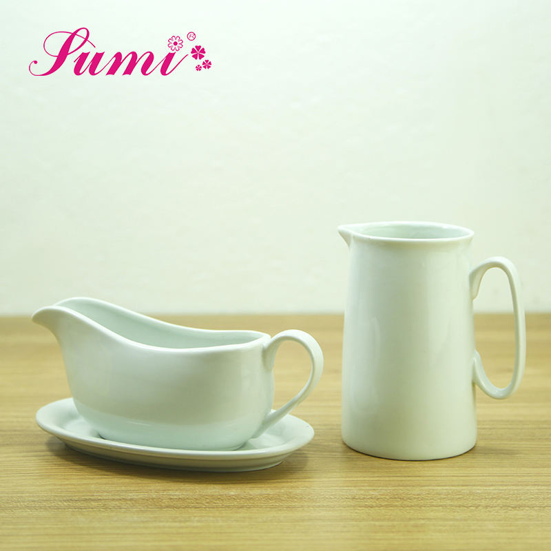 China professional manufacturer best low MOQ hotel restaurant white personalized ceramics gravy boat with milk pot jug