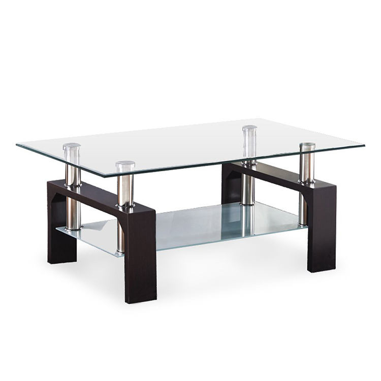 Modern black painted glass center table living room furniture coffee table