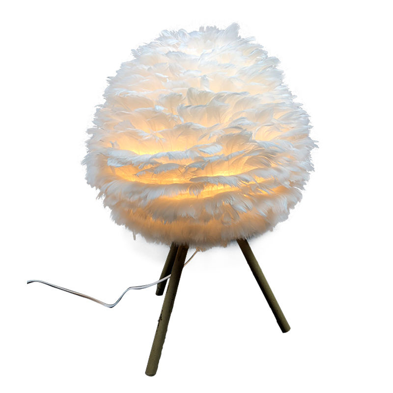Modern Elegant Home Decor Pure White Feather Lamp Shades for Table Lamps Wholesales tripod floor lamp