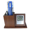 Home Decor Gifts Large LCD Digital Pen Holder Wood Desk Clock
