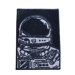High quality custom black cool astronaut pattern embroidery patch for decoration
