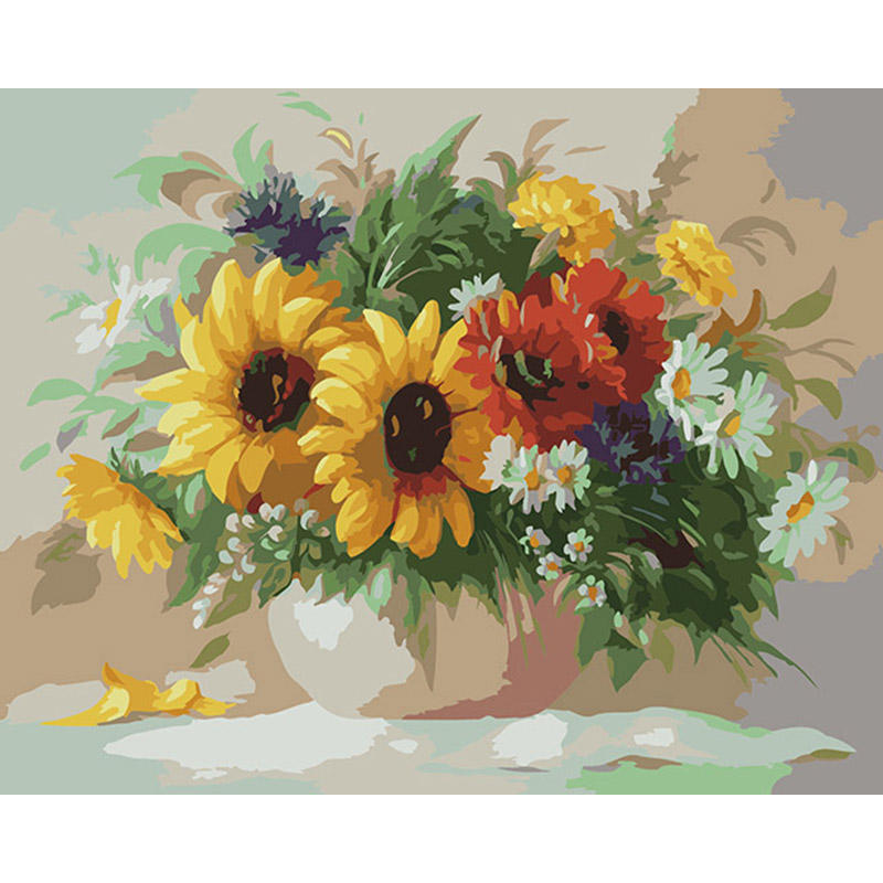 CHENISTORY DZ1344 Painting By Numbers Digital Impressionists Active Flowers On Canvas No Frame
