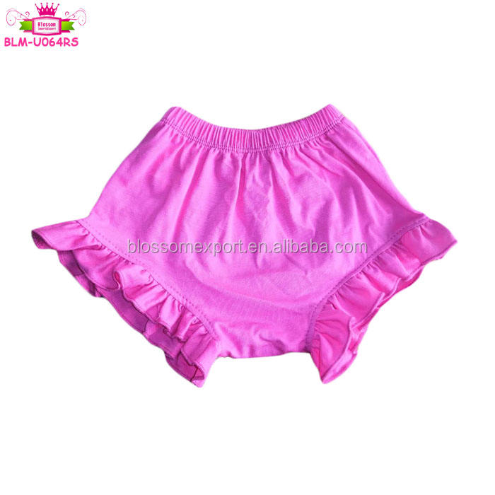 Summer Infant & Toddler Clothes Cotton Ruffle Shorts Elastic Waist Hot Pink Baby Girls Ruffle Bummies