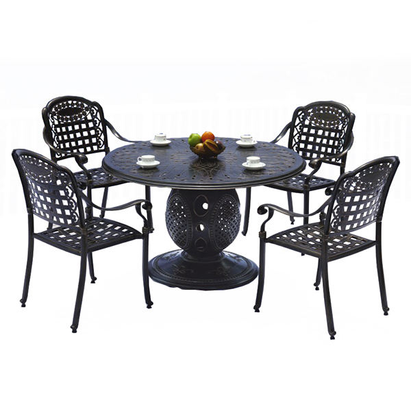 Bistro Set Outdoor Garden 5-Piece Table And Chair Set Patio Furniture Set Cast Aluminum Round