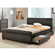 Bed Bed Design Modern Design Double Size Black Leather Sleigh Bed