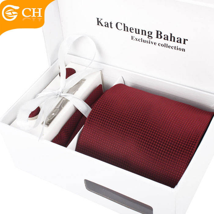 Custom fashion high quality men red tie and cufflink set