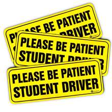 "Reflective Bumper Decal ""Please Be Patient Student Driver"" Car Magnets Sticker"