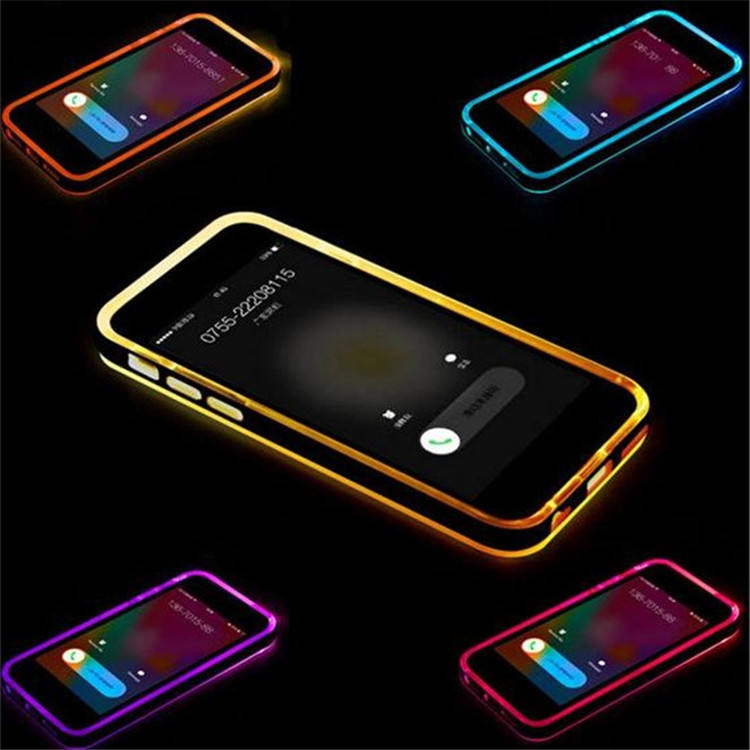 Jesiy Casing Ponsel Lampu Kilat LED, Sarung HP Samsung TPU PC Bening untuk iPhone 6S 6 Plus 5 5S
