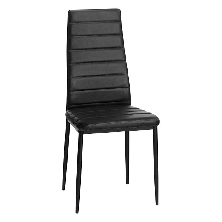 Buy Contemporary Modern Black PU Leather And Metal Frame High Back Dinning Dining Room Chairs For Sale