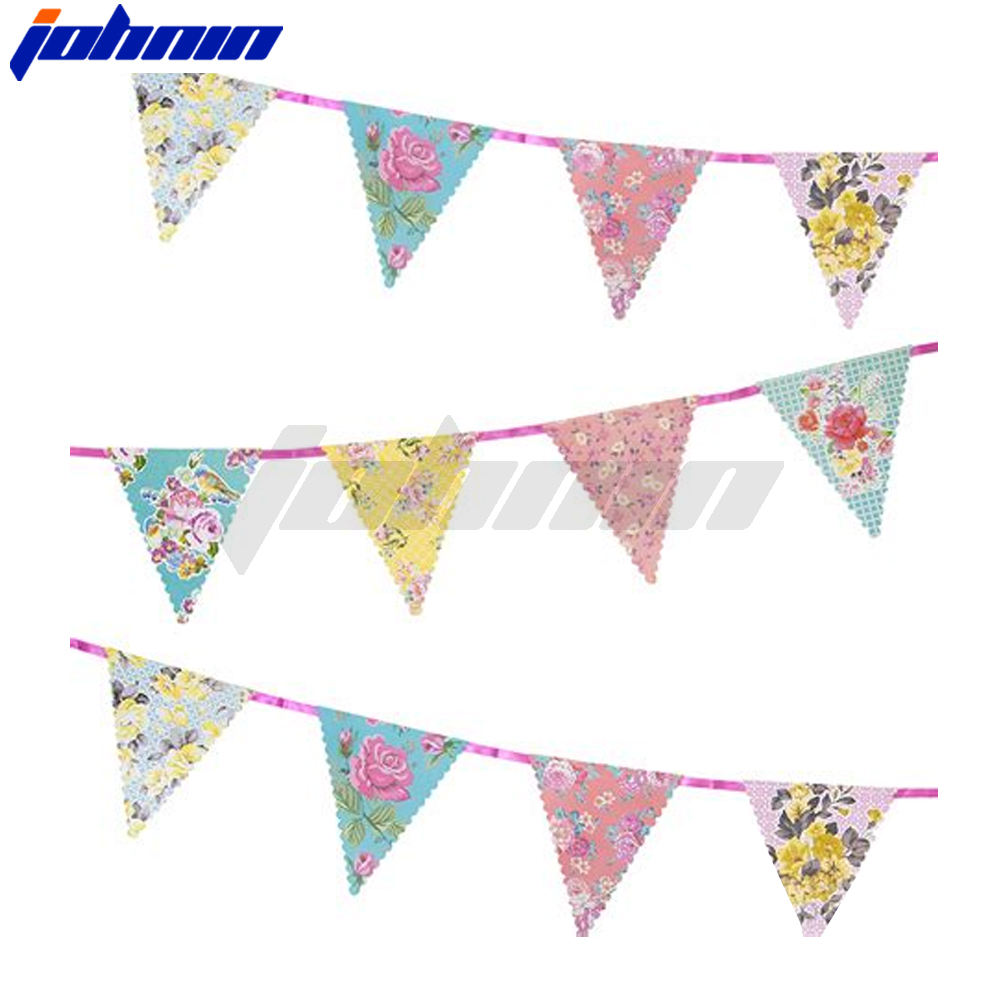 Home Double Sides Cotton Printed decorative flags on string