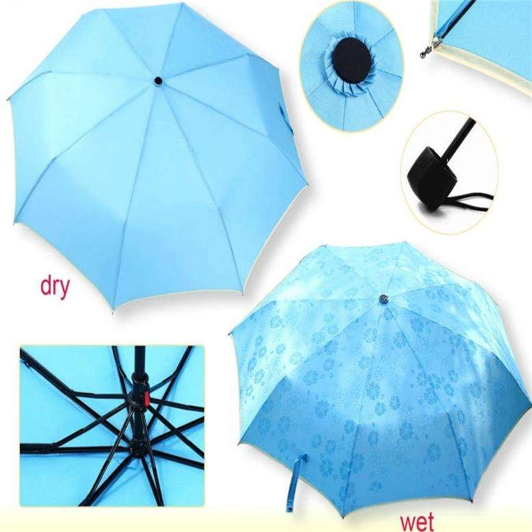 Special magical color changing 3-folding Manual Open Pongee Umbrella in self-fabric pouch