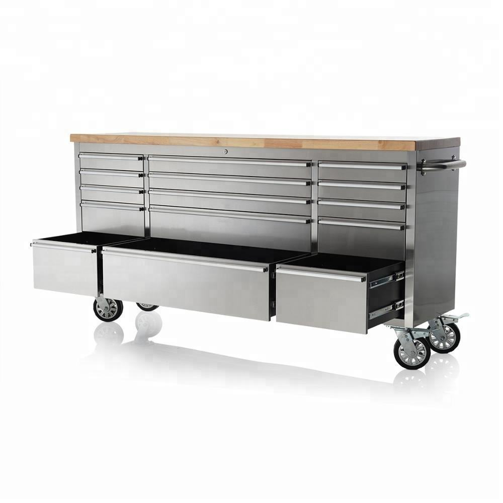 "72"" stainless steel 15 drawer work bench tool box chest cabinet"