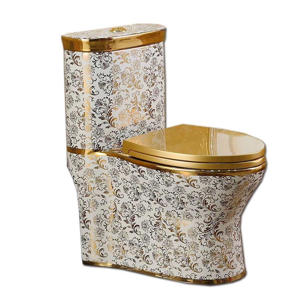 Chaozhou sanitary wares manufacturer ceramic golden color one piece toilet with soft close seat