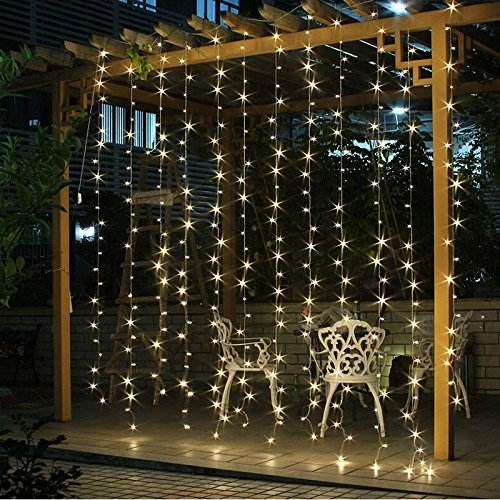 9.6ft*9.6f 300 LED Curtain lights String christmas Window Twinkle string lights for Wedding Outdoor Indoor Decorate Warm White