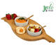 Bamboo Wooden Serving Platter Food Serving Tray with 2 Bowls