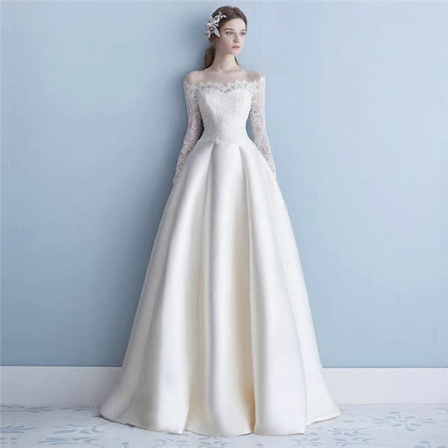 Off-shoulder Stain Lace Up Long Sleeve Princess Wedding Dress