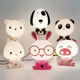 Night Lovely Sleeping Lamp Baby Room Panda/Rabbit/Dog/Bear/Pig/Cat Cartoon Light Kids Bed Lamp Desk Lamp Reading Light for Gifts