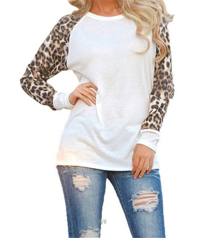 Europe and the United States new large size women's loose T-shirt stitching leopard chiffon long-sleeved shirt
