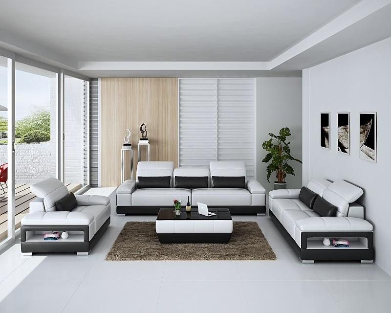 Contemporary white sectional 3 2 1 leather sofas