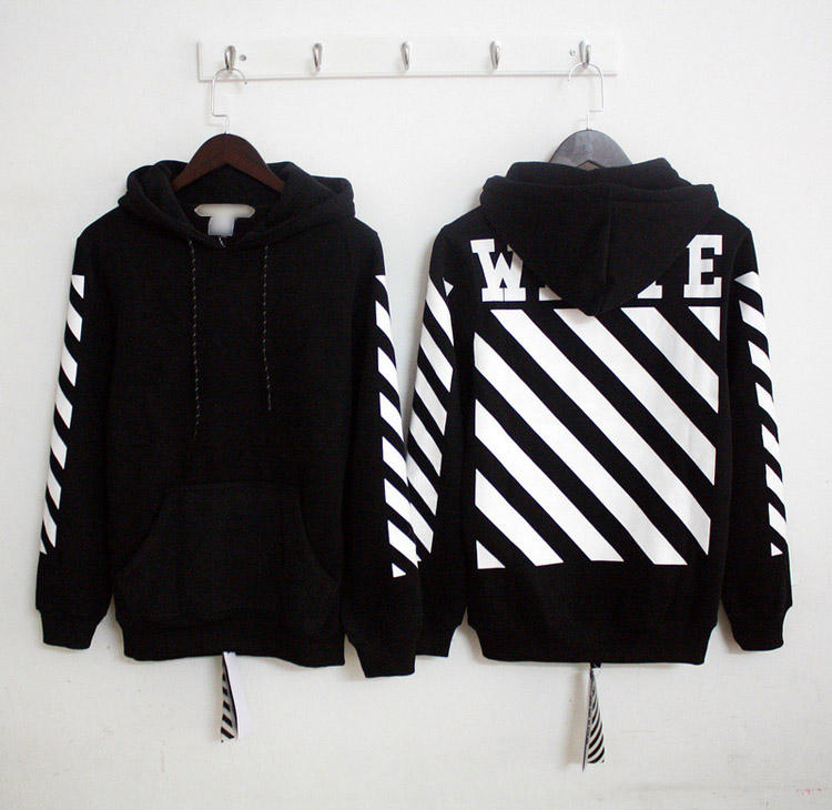Man's Stripe Printed Black Street Wear Hoodie No Zipper Hoodie Jacket