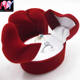 factory product wedding gift flocked velvet red double ring jewelry box