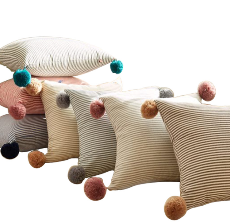 Wholesale Cozy Contracted Striped Macrame Cushion Cover With Fluffy Balls,Daybed Cushion Throw Pillow Cover