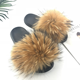 Natural color raccoon fur cheap with high quality soft fox fur slippers fur slides wholesale