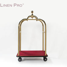 Stainless steel golden color hotel suit case trolley luggage cart