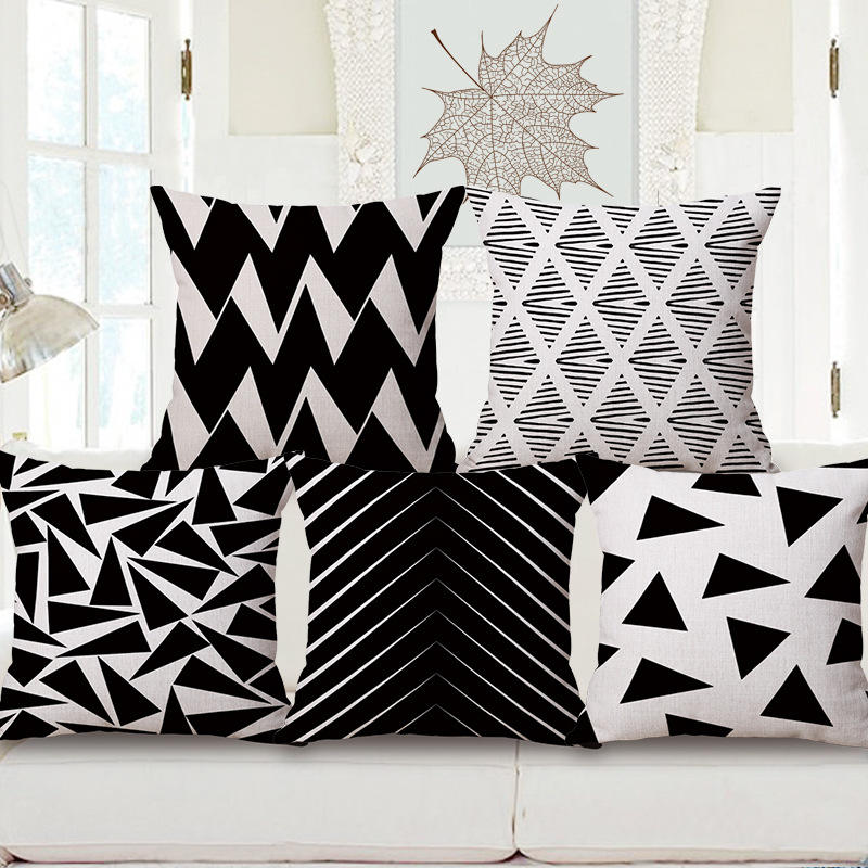 Factory price black and white color cushion cover 18*18 inches pillow covers decorative strips pattern pillow case