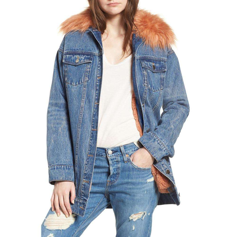 Manufacture wholesale direct vintage borg detachable fur collars jean denim jacket for women winter