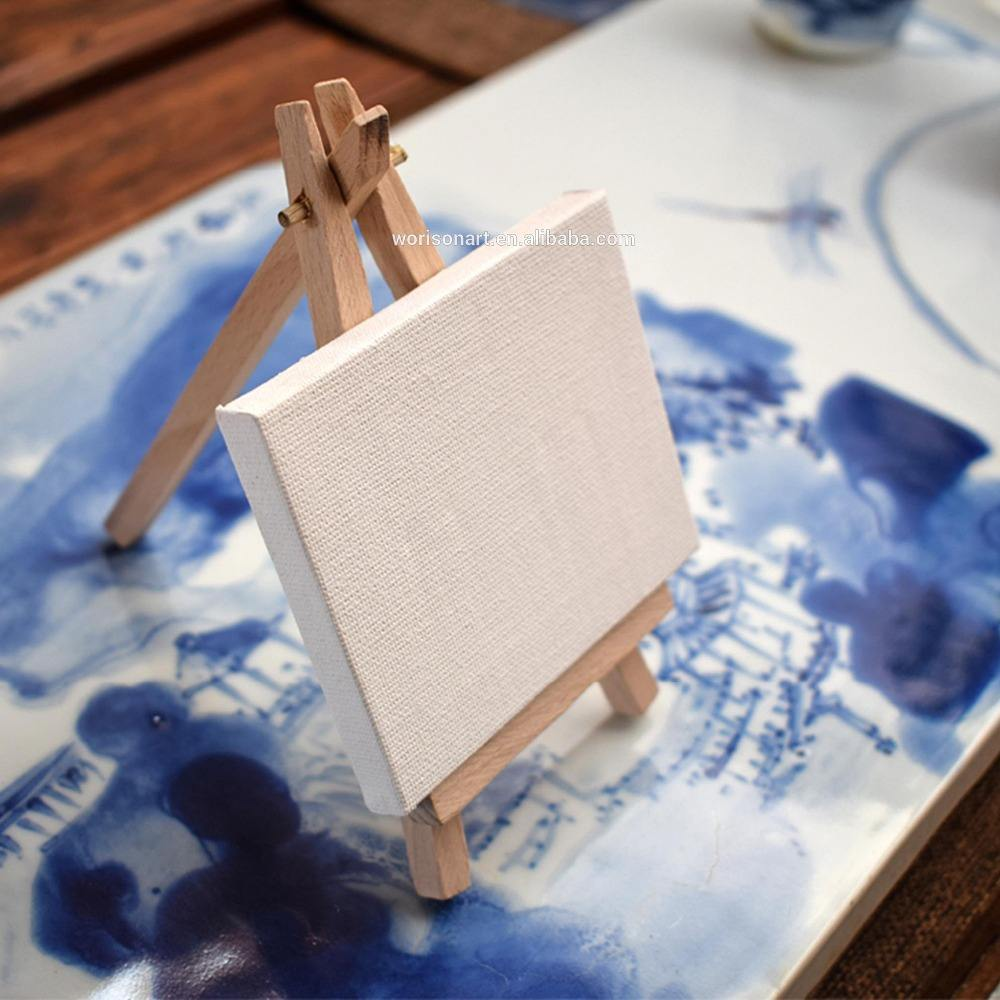 Ready To Ship Three different size mini art painting canvas with wooden artist easel design for oil drawing supplies