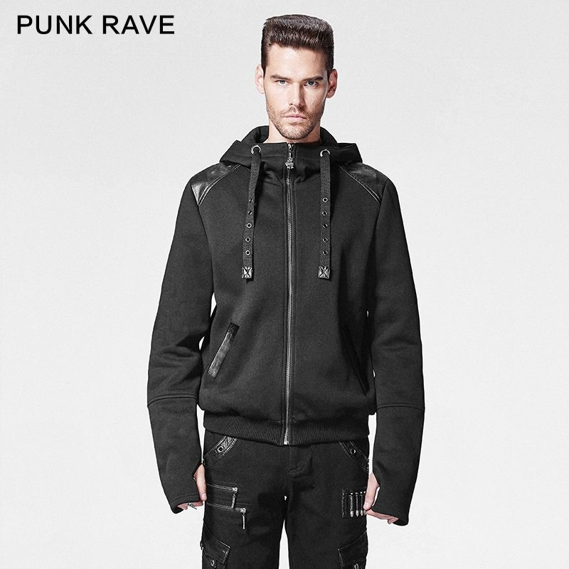 Y-608 PUNK and Gothic black rivet studded man pullover Hoodies
