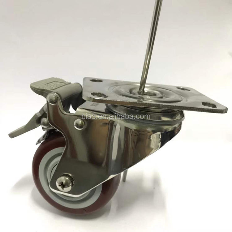 304 stainless steel 3inch PU medical swivel caster wheel with stopper