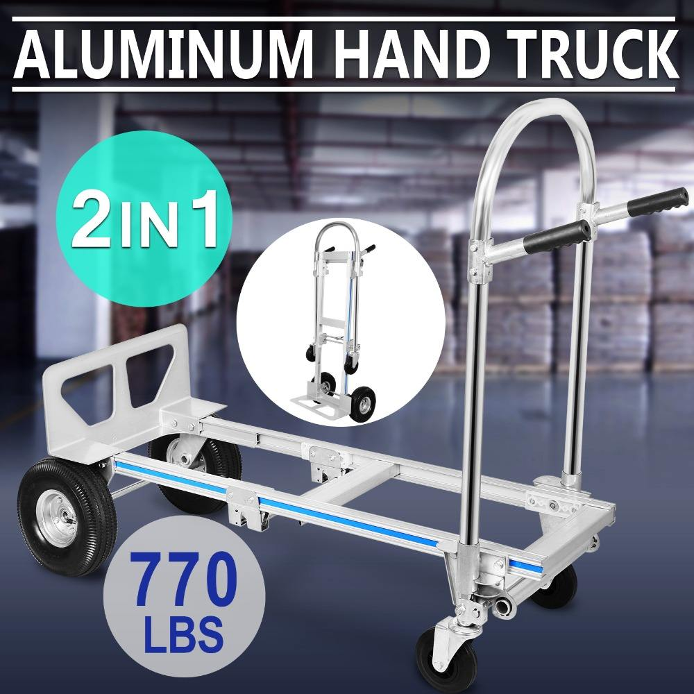New 2-in-1 770 lb Capacity Aluminum Foldable Dolly Cart Hand Truck