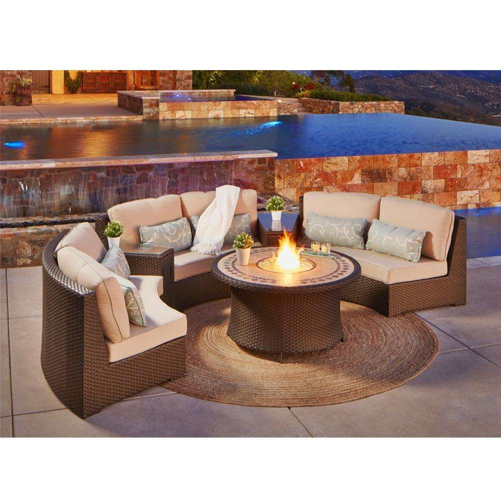 Wicker Patio Conversation Set Outdoor Garden Patio Wicker Fire Pit Table Set Sofa